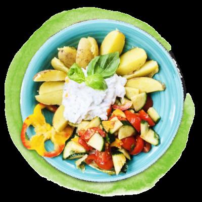 ***Nur Maxi*** Pellkartoffeln mit Kräuterquark und buntem Salat