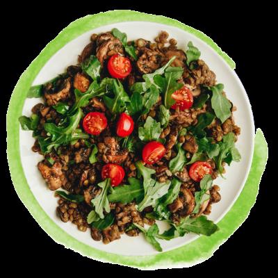 ***NUR MAXI*** Lauwarmer Linsen-Pilz-Salat mit Rucola, Balsamico & Kirschtomaten