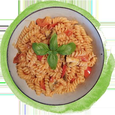 ***Nur Maxi*** One-Pot-Pasta mit Tomaten, Paprika & Pilzen