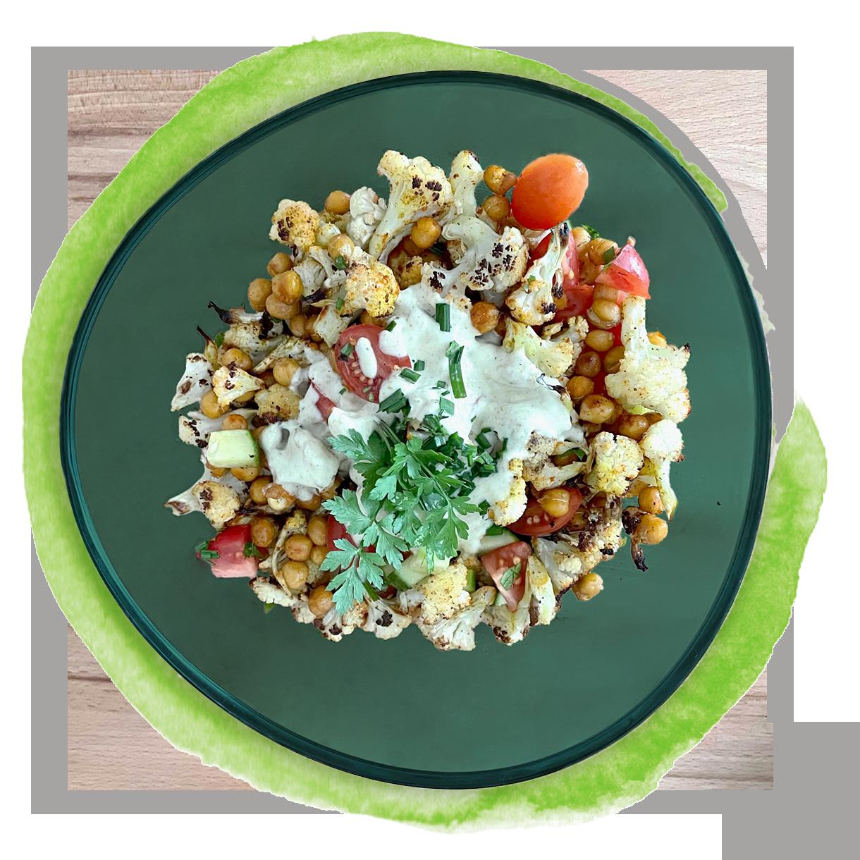 ***Nur Maxi*** Gerösteter Blumenkohlsalat mit Kichererbsen und knackigem Gemüse