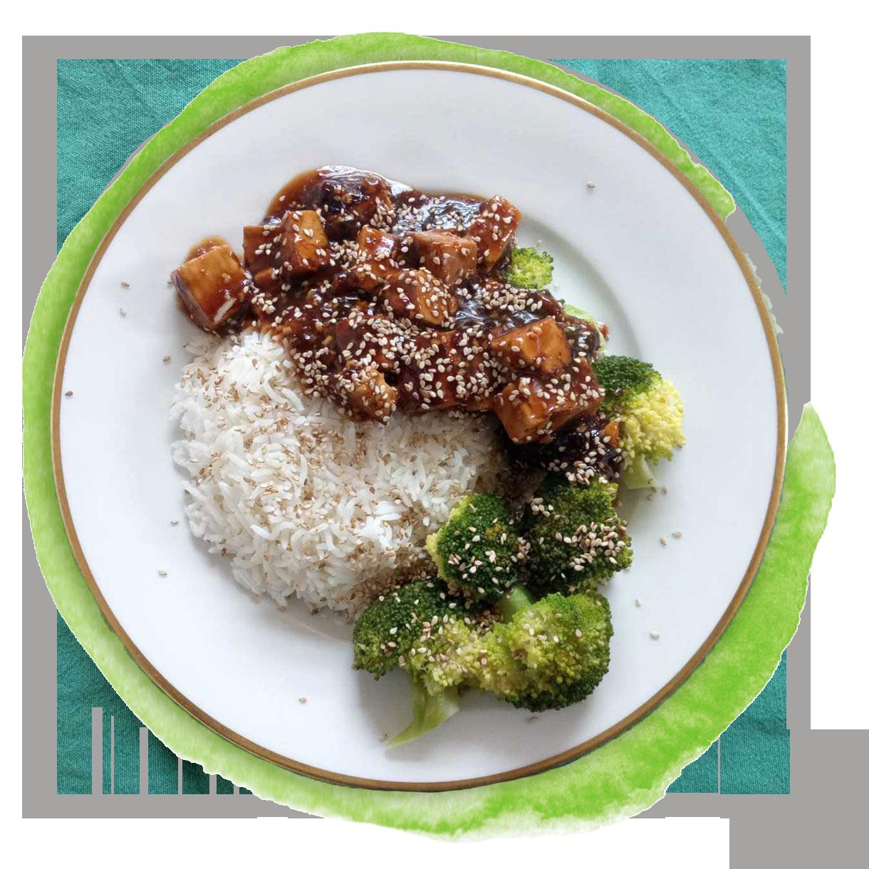Schnelle Tofu-Brokkoli-Pfanne mit Reis